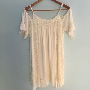 Mossimo Off-White Cold Shoulder Dress/Tunic Size L